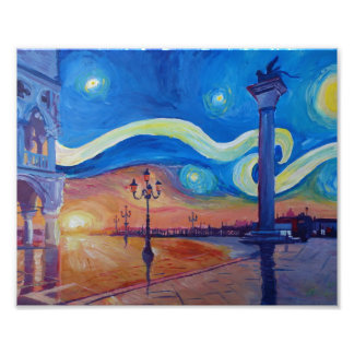 Starry night in Venice Italy - San Marco with lion Photo
