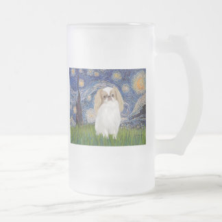 Starry Night - Japanese Chin (lemon 1) Frosted Glass Beer Mug