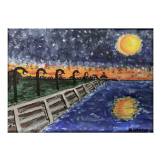 Starry Night Lake Pontchartrain Poster