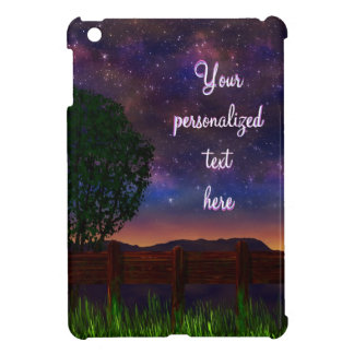 Starry Night Landscape - with customizable text - iPad Mini Cover