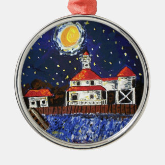 Starry Night Light House Ornament