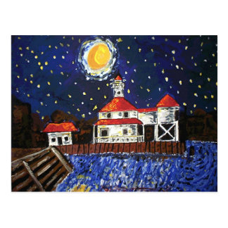 Starry Night Light House Postcard