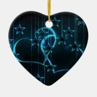 Starry Night Lovers Blue Black Ceramic Ornament
