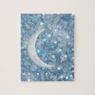 Starry night moon splatter of paint illustration jigsaw puzzle