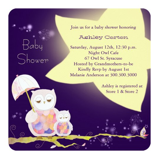 Starry Night Mum & Baby Owls Baby Shower Card