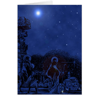 Starry Night Nativity Scene Greeting Card