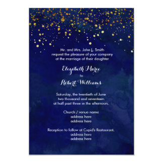 Starry Night Navy and Faux Gold Glitter 13 Cm X 18 Cm Invitation Card