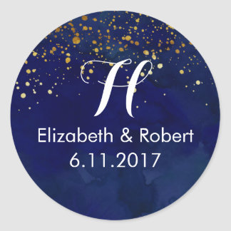 Starry Night Navy and Faux Gold Glitter Classic Round Sticker