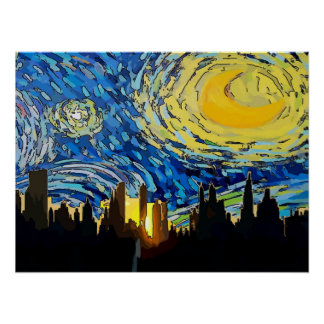 Starry Night New York Abstract Sky Poster