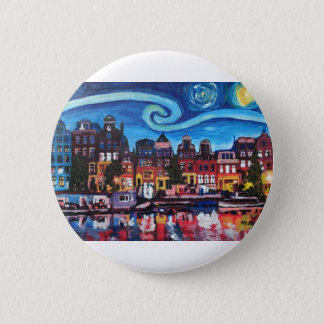 Starry Night over Amsterdam Canal 6 Cm Round Badge