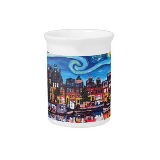 Starry Night over Amsterdam Canal Beverage Pitcher