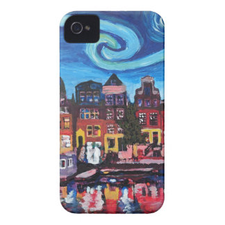 Starry Night over Amsterdam Canal iPhone 4 Case-Mate Case