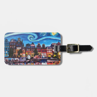 Starry Night over Amsterdam Canal Luggage Tag