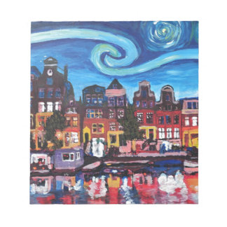 Starry Night over Amsterdam Canal Notepad