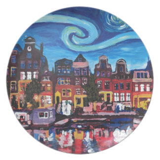 Starry Night over Amsterdam Canal Plate