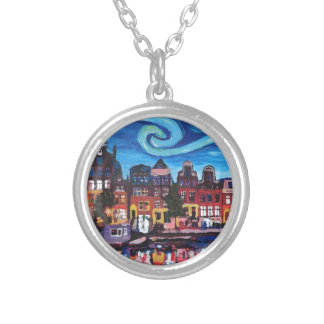 Starry Night over Amsterdam Canal Silver Plated Necklace