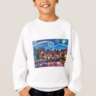 Starry Night over Amsterdam Canal Sweatshirt