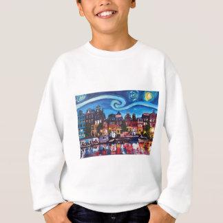 Starry Night over Amsterdam Canal Sweatshirt