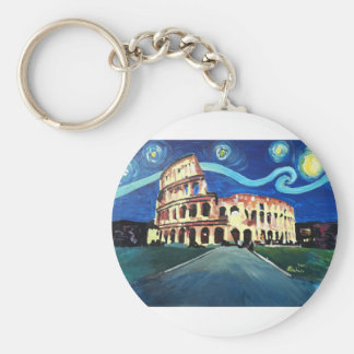 Starry Night over Colloseum in Rome Italy Basic Round Button Key Ring