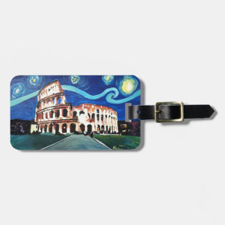 Starry Night over Colloseum in Rome Italy Luggage Tag