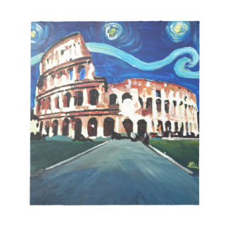 Starry Night over Colloseum in Rome Italy Notepad