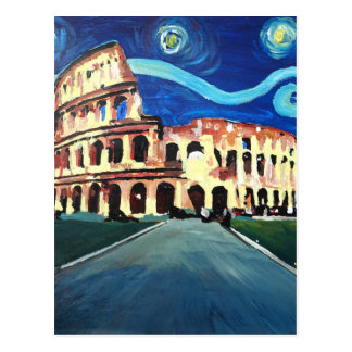 Starry Night over Colloseum in Rome Italy Postcard