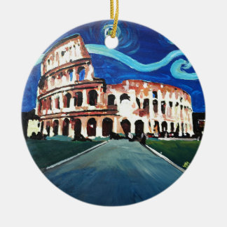 Starry Night over Colloseum in Rome Italy Round Ceramic Decoration