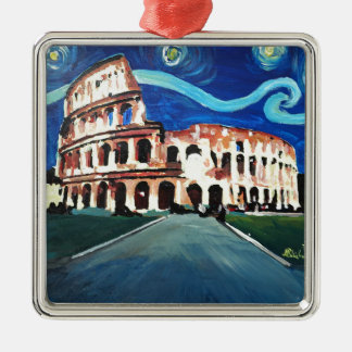 Starry Night over Colloseum in Rome Italy Silver-Colored Square Decoration