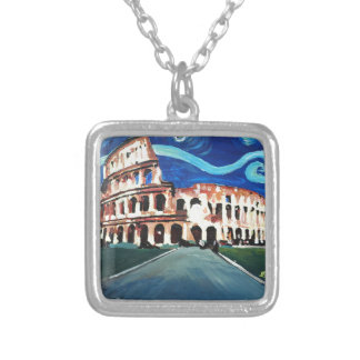 Starry Night over Colloseum in Rome Italy Silver Plated Necklace