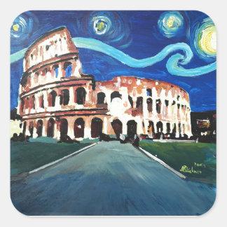 Starry Night over Colloseum in Rome Italy Square Sticker