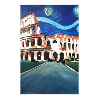 Starry Night over Colloseum in Rome Italy Stationery
