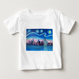 Starry Night over Manhattan with Statue of Liberty Baby T-Shirt