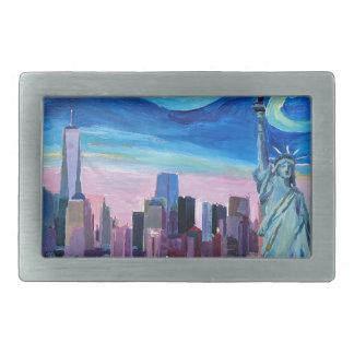 Starry Night over Manhattan with Statue of Liberty Belt Buckle