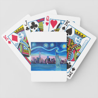 Starry Night over Manhattan with Statue of Liberty Bicycle Playing Cards