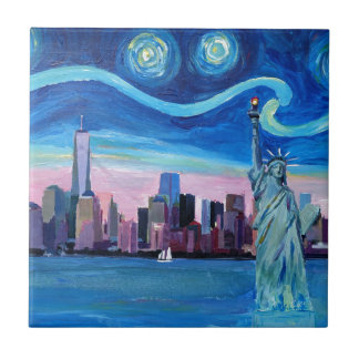 Starry Night over Manhattan with Statue of Liberty Ceramic Tile