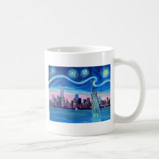 Starry Night over Manhattan with Statue of Liberty Coffee Mug