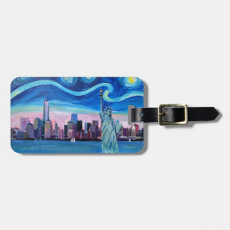 Starry Night over Manhattan with Statue of Liberty Luggage Tag