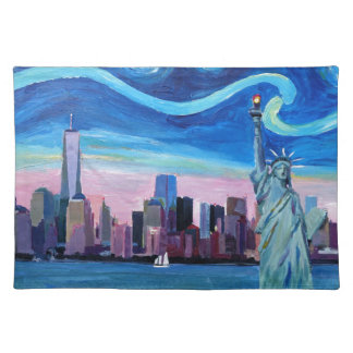 Starry Night over Manhattan with Statue of Liberty Placemat