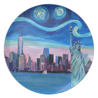 Starry Night over Manhattan with Statue of Liberty Plate