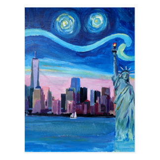 Starry Night over Manhattan with Statue of Liberty Postcard