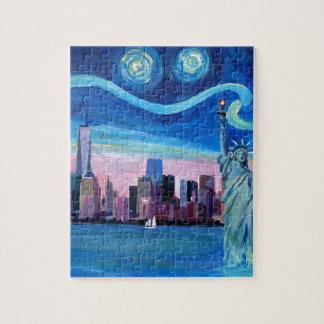 Starry Night over Manhattan with Statue of Liberty Puzzle