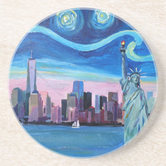 Starry Night over Manhattan with Statue of Liberty Sandstone Coaster