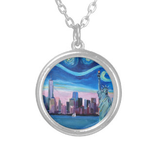Starry Night over Manhattan with Statue of Liberty Silver Plated Necklace