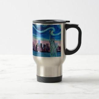 Starry Night over Manhattan with Statue of Liberty Travel Mug