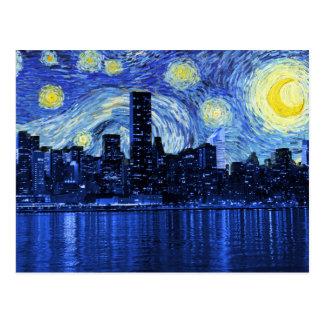 Starry Night Over New York City Postcard