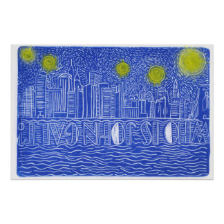 Starry Night Over New York...Who Is John Galt Poster