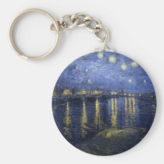 Starry Night Over the Rhone Basic Round Button Key Ring