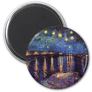 Starry night over the Rhone by Van Gogh 6 Cm Round Magnet