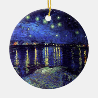 Starry night over the Rhone by Van Gogh Double-Sided Ceramic Round Christmas Ornament