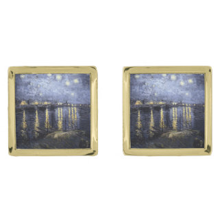 Starry Night Over the Rhone by Van Gogh Gold Finish Cufflinks